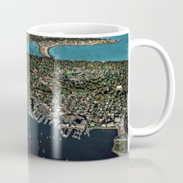 Newport Harbor, Aquidneck Island, Newport Rhode Island Aerial Photograph Coffee Mug