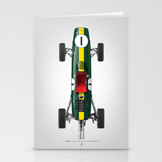 Outline Series N.º1, Jim Clark, Lotus 25-Coventry Climax 1962 Stationery Cards