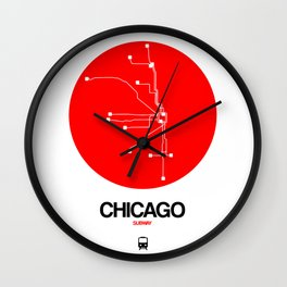 Chicago Red Subway Map Wall Clock