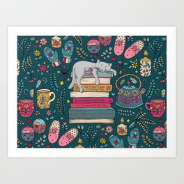 How to Hygge Like a Cat Art Print