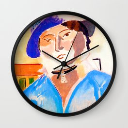 Henri Matisse Marguerite in a Leather Hat Wall Clock