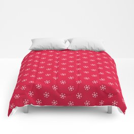 White on Crimson Red Snowflakes Comforters