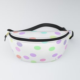 Kawaii funny muzzle with pink cheeks and eyes on white polka dot background Fanny Pack