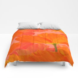 Beautiful Poppies Coral Color Background #decor #society6 #buyart Comforters