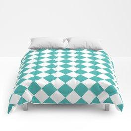 Diamonds - White and Verdigris Comforters