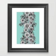 Penguins & Flowers Framed Art Print