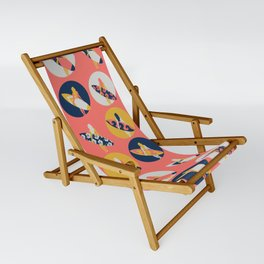 Surfer Girl Pattern Coral Sling Chair