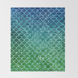 Mermaid Blue & Green Glitter Ombre Scales Throw Blanket