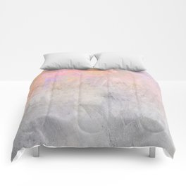 Pastel Candy Iridescent Marble on Concrete Comforters