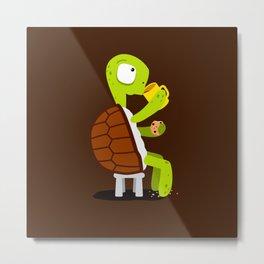 Turtle drinking tea with cookies. Metal Print