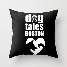 DogTales Boston Extended Logo (Black Background) Throw Pillow