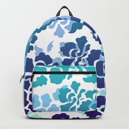 Flowers Blossoms Turquoise Violet Fantasy Graphic white Backpack