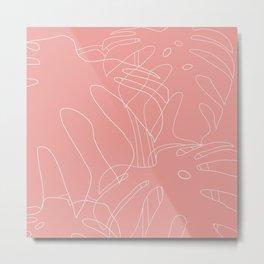 Monstera No2 Pink Metal Print