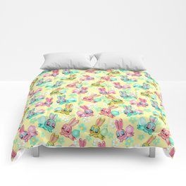 Bunnies and Daisies on Yellow Comforters