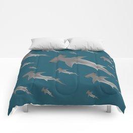 Hammerhead shark school Comforters
