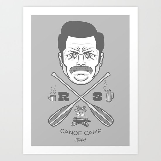 Ron Swanson Canoe Camp (clean gray variant) Art Print
