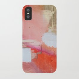 Moving Mountains: a minimal, abstract piece in reds and gold by Alyssa Hamilton Art iPhone Case