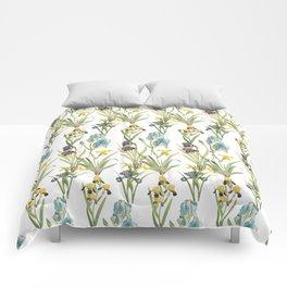 Vintage Floral Pattern   No. 2B   Iris Flowers   Irises Comforters