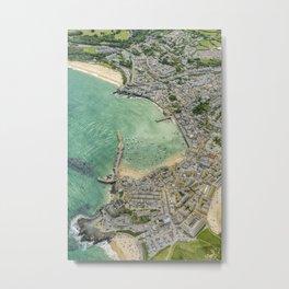 Aerial Views over St. Ives, Cornwall Metal Print