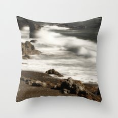 Ocean Waves and Rocks Throw Pillow