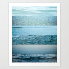 Water Study abstract blue waves Art Print