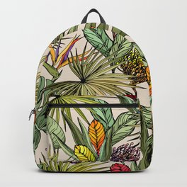 Tropical leaves and flowers Backpack