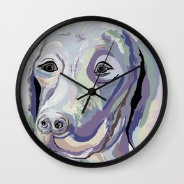 Weimaraner Denim Colors Wall Clock