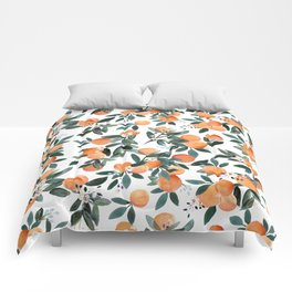 Dear Clementine - oranges on white Comforters