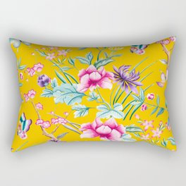 Chinoiserie mustard yellow floral Rectangular Pillow