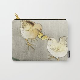 Chicken fighting over butterfly - Japanese vintage woodblock print art Carry-All Pouch