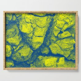 Abstract - in yellow & green Serving Tray