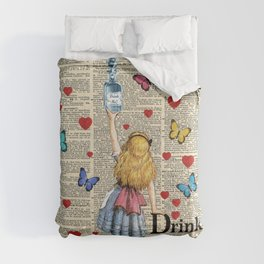 Drink Me - Vintage Dictionary Page - Alice In Wonderland Comforters