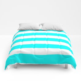 Electric cyan - solid color - white stripes pattern Comforters
