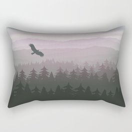 mountain forest in fog and sunrise with stars Rectangular Pillow