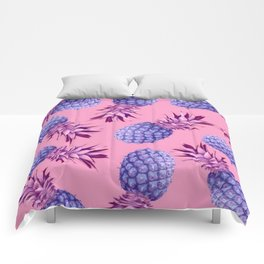 Violet pineapples Comforters