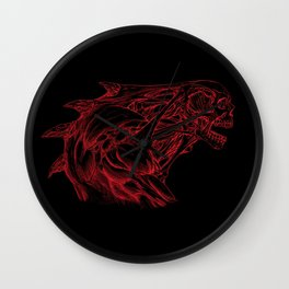 Skull creature (red line) Wall Clock