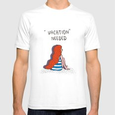 vacation White SMALL Mens Fitted Tee