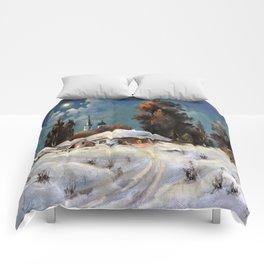 Winter in the village # 6 Comforters