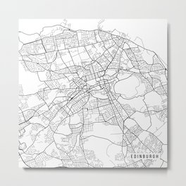 Edinburgh Map, Scotland - Black and White Metal Print