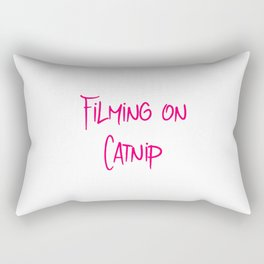Filming on Catnip Funny Pet Stunt Coordinator Rectangular Pillow