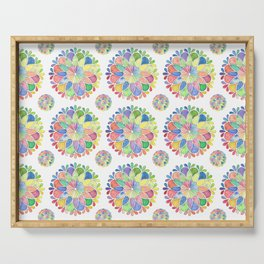 Watercolor Flower Mandala Serving Tray