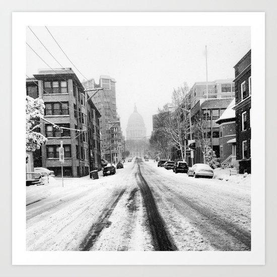 Snowy Street Art Print