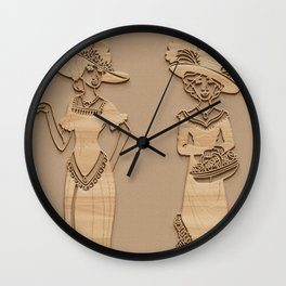 Victorian Ladies - Simulated Carved Wood Wall Clock