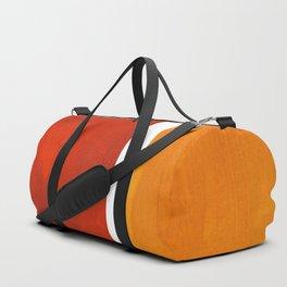 Burnt Orange Yellow Ochre Mid Century Modern Abstract Minimalist Rothko Color Field Squares Duffle Bag