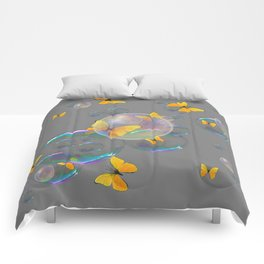 #2 YELLOW BUTTERFLIES  & SOAP BUBBLES GREY COLOR Comforters