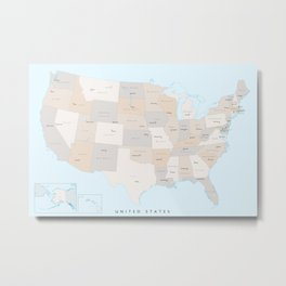 "Map of the USA with states and state capitals, ""Keane"" Metal Print"
