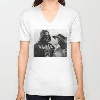 casablanca V-neck T-shirts featuring Darth Vader in Casablanca by Luigi Tarini
