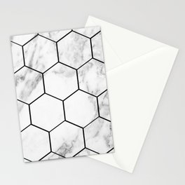 Marble hexagonal tiles - geometric beehive Stationery Cards