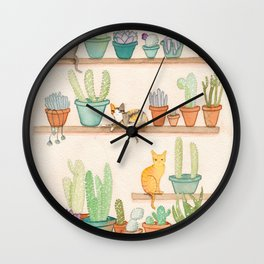 Cats in the Cactus Room Wall Clock
