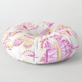 Butterfly Pattern Pink Gold White Floor Pillow